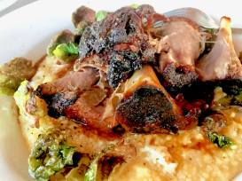BBQ Braised Pork Shank, White Cheddar grits & fried brussel sprouts